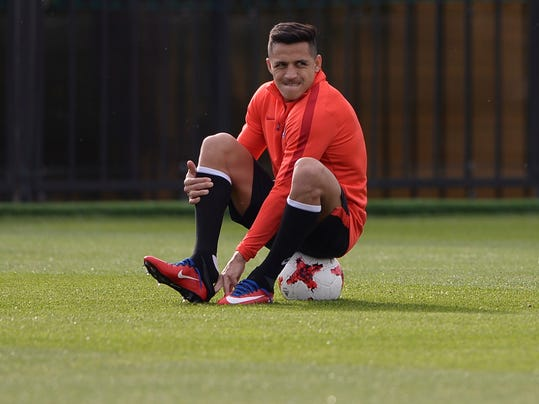 Chile's Alexis Sanchez attends a training session at the FC Strogino Stadium in Moscow, Russia, Saturday, June 24, 2017. Chile will play Australia in a Confederations Cup, Group B soccer match scheduled for Sunday, June 25, 2017. (AP Photo/Daria Isaeva)