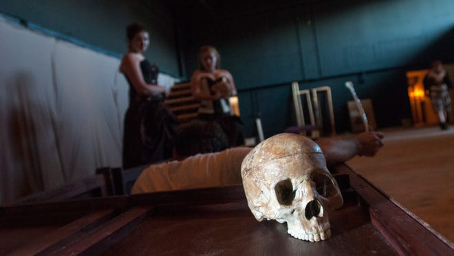 A prop skull is displayed Monday, Aug 1, during rehearsal for Hamlet at the Citadel Stage in Port Huron.