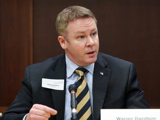 Warren Davidson speaks during a Cincinnati Enquirer