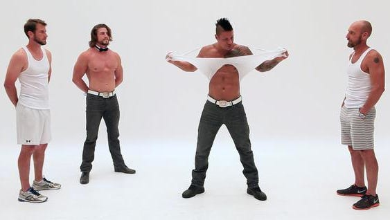 "Tyler Worley (left) and Chad Oliver (right) are put through the paces as they are schooled in the ""art"" of being a Chippendales Dancer from Gavin McHale (left) and Jeffrey Garrovillo."