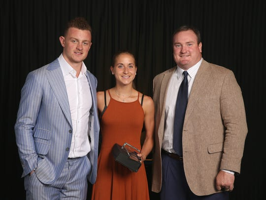 Sabres Jack Eichel and Bills Kyle Williams take time to pose with AGR athletes at the AGR Sports Award Banquet.