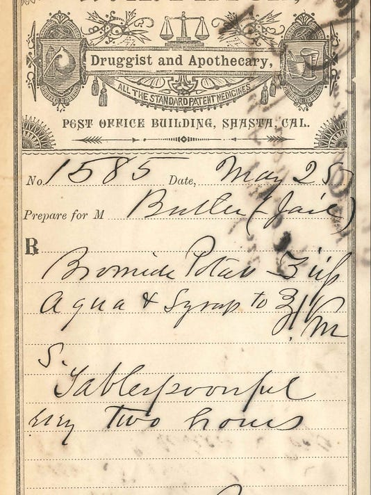 Dr. James M. Briceland of Shasta prescribed the following prescriptions to Jane Butler on one of Pryor's RX prescription forms, circa 1890. Briceland's mark is featured at the bottom. From the collection of the author.