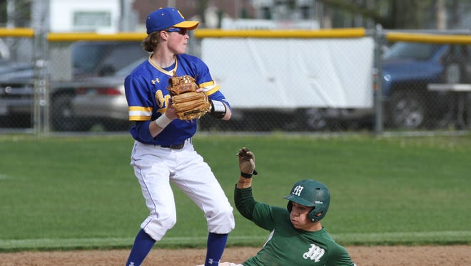 Madison's Jacob Stone is out  at second base on Thursday as Ontario's Mason Zahon defends.