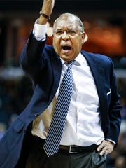 University of Memphis head coach Tubby Smith reacts to a play during the second half against East Carolina University at the FedExForum.