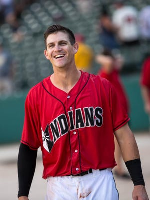 Kevin Newman celebrates his winning 12th-inning single for the Indianapolis Indians.