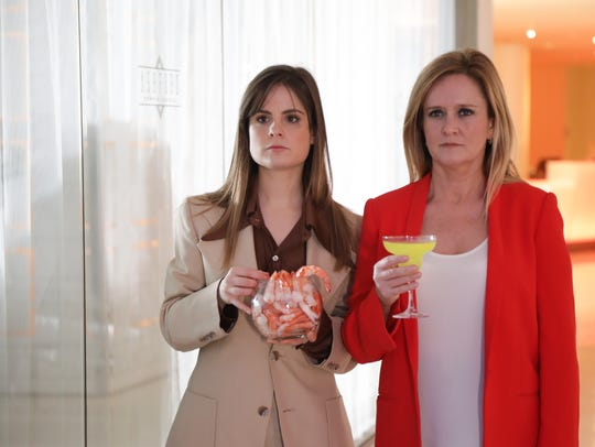 In one segment, Amy Hoggart, left, and Samantha Bee