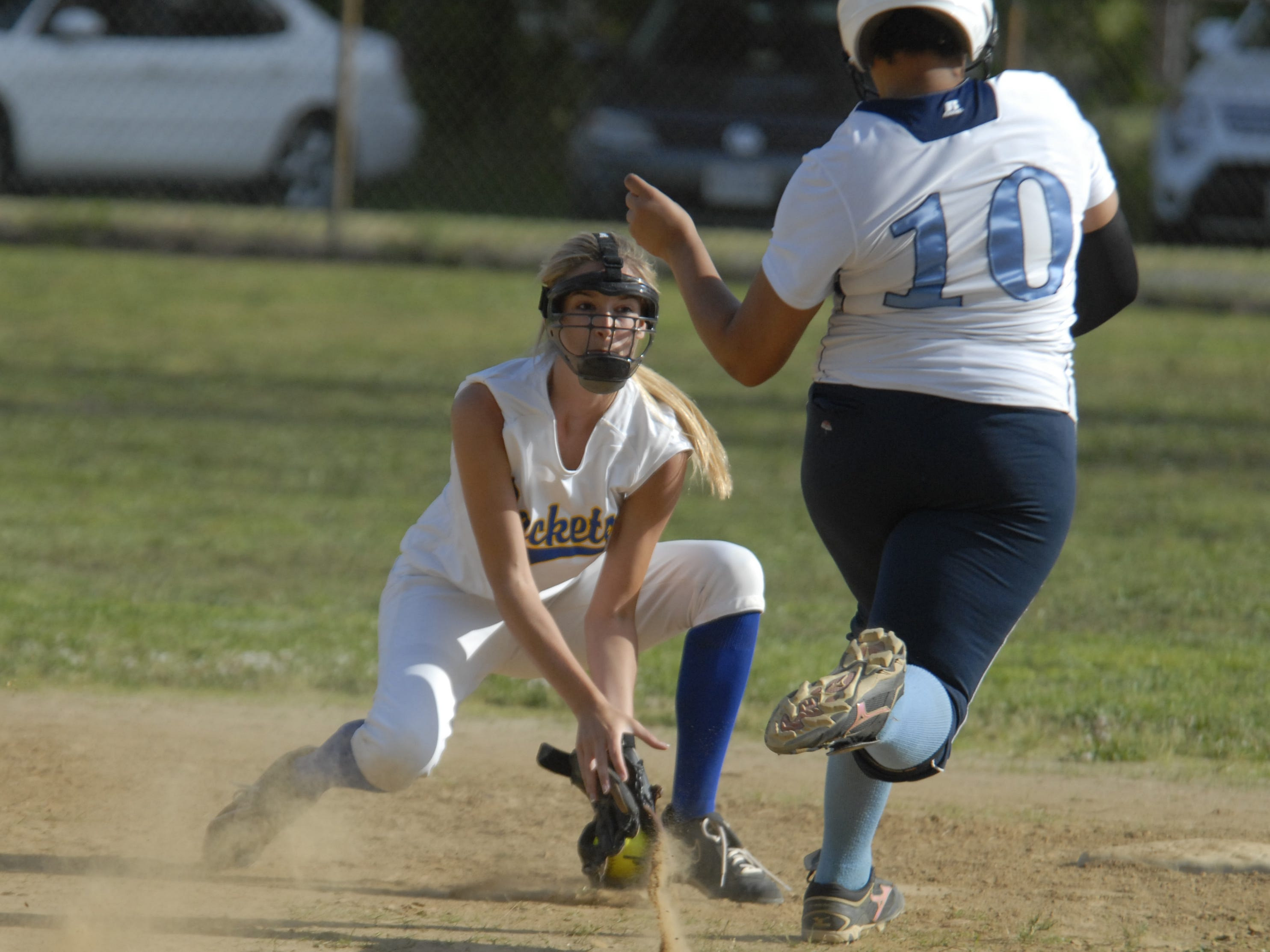 Northampton's Whitney Metz goes to tag a Middlesex runner at second during the 1A East regional quarterfinal in Eastville on June 2. The Yellow Jackets fell to the Chargers, 8-0.