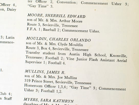 Charles Moulden's student information in the 1964 Sevier