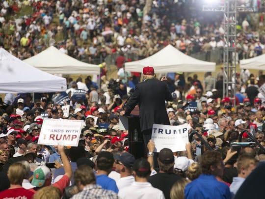 Republican presidential candidate Donald Trump speaks