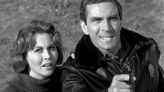 """Peter Mark Richman and Hazel Court in the 1964 """"Twilight Zone"""" episode, """"The Fear."""""""