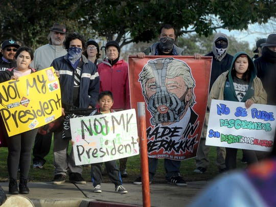 Protesters at Del Sol Park in Oxnard spoke out against