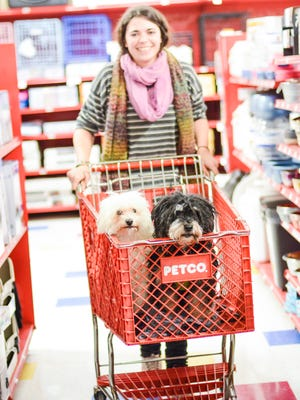 Katarina Lasee shops with her dogs, Pickles and Chewy, at Petco's east-side Green Bay location.