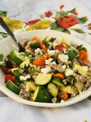 Buckwheat groats are joined by zucchini and goat cheese
