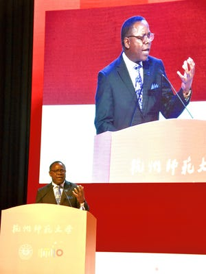 MTSU President Sidney A. McPhee delivered a keynote address at celebration of Hangzhou Normal University's 110th anniversary of its founding. MTSU and HNU are partners in the operation of the Confucius Institute operating on MTSU's Murfreesboro campus.