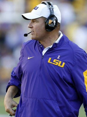 LSU head coach Les Miles reacts during the second half of an NCAA college football game against South Carolina in Baton Rouge, La., Saturday, Oct. 10, 2015. LSU won 45-24. (AP Photo/Jonathan Bachman)