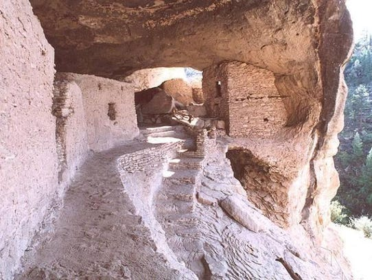 A view along the Catwalk at Gila Cliff Dwellings National