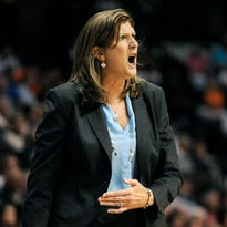 Connecticut Sun head coach Anne Donovan reacts during the second half of a WNBA basketball game agains the Seattle Storm.