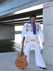Elvis Presley tribute artist Lee Birchfield strikes a pose under the Maple-Oregon Bridge in Sturgeon Bay. The Elvis jumpsuit Birchfield is wearing is one he won last month after taking first place in an Elvis tribute contest at a casino in Deadwood, S.D.