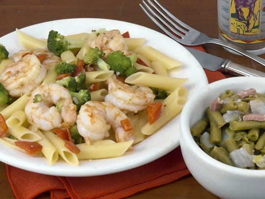 Kaelin's green beans and shrimp scampi