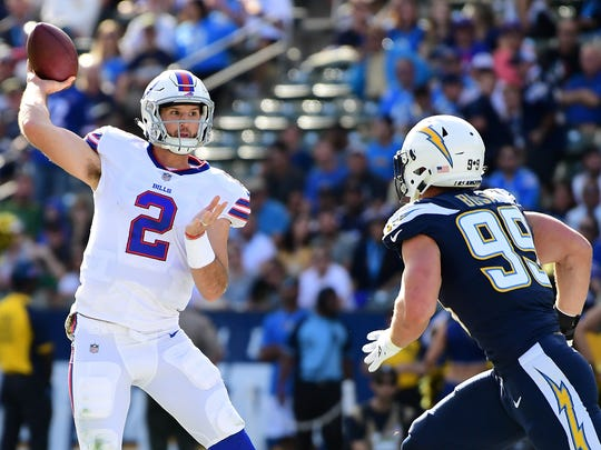 Nathan Peterman of the Buffalo Bills throws a pass during the first quarter of the game against the Los Angeles Chargers at the StubHub Center on Nov. 19, 2017, in Carson, California.  Peterman ended throwing five picks that game.