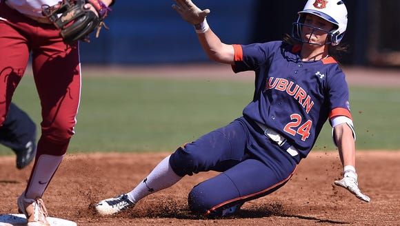 Kendall Veach (24). Auburn softball vs Oklahoma during