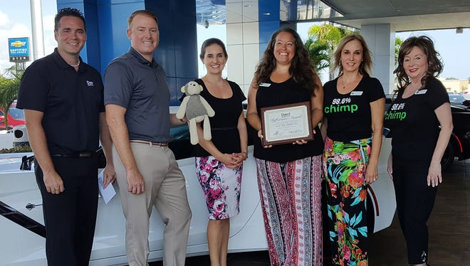 The August Dyer Difference Award for Indian River County recognizes Save the Chimps. Accepting the award on their behalf from Dyer representatives Jonathan Hardie, Will and Tatiana Dyer were Rebecca Rodriguez, Manager of special events, Laura Guttridge and Judy Van Saun both Chimps Kitchen Co-Chairs.
