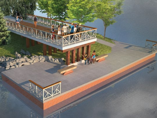 A new overlook on the western shore of the Genesee River in Charlotte will extend from the old bridge abutment.