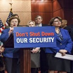 """Democratic senators and first responders on Tuesday urge Republicans to support a """"clean bill"""" to fund the Department of Homeland Security."""