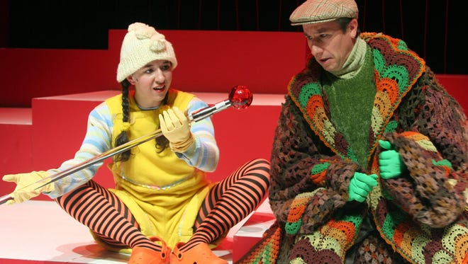 "Veteran Cincinnati actor Michael G. Bath (right) is seen in the role of the Tortoise in Ensemble Theatre Cincinnati's 2006 Holiday show, ""Ugly Duck."" Seen with Bath is Alexis Black as Ugly Duck."