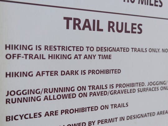 Runners at Marcella Vivrette Smith Park are allowed only on the park's paved and gravel surfaces. The 320-acre park offers six miles of hiking trails, but running on the trails is not allowed.
