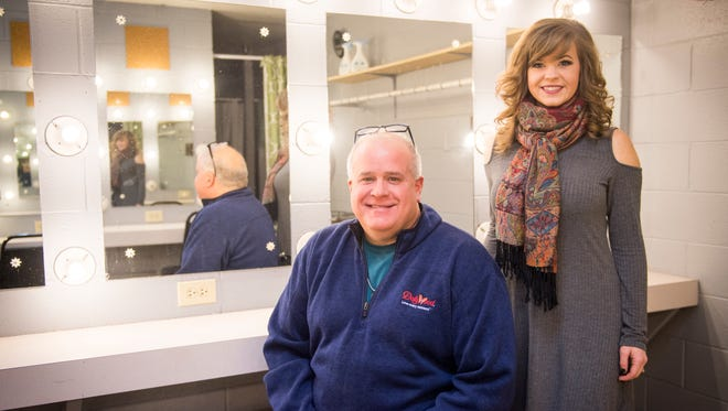 Dollywood Entertainment Supervisor Roger White, left, and performer Paige Clabo stand inside a dressing room at Dollywood on Thursday, Jan. 11, 2018.