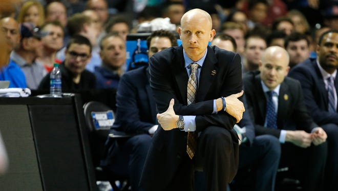Xavier Musketeers head coach Chris Mack watches the team after receiving a technical foul in the second half.