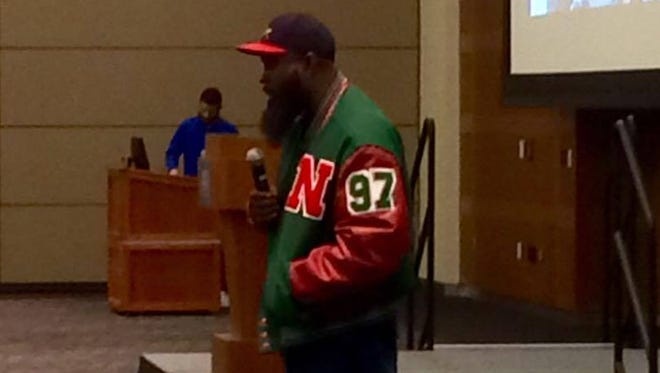Michael Brown Sr. speaks to MTSU students Thursday night at the MTSU Student Union.
