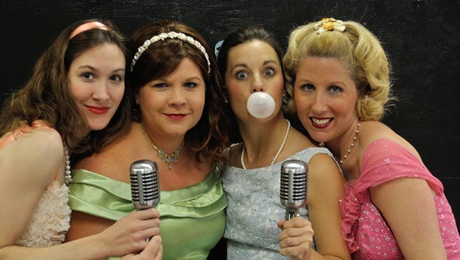 "Seen here, the cast ""The Marvelous Wonderettes"" at the Monticello Opera House reprises their roles in ""The Winter Wonderettes,"" playing until Dec. 16."