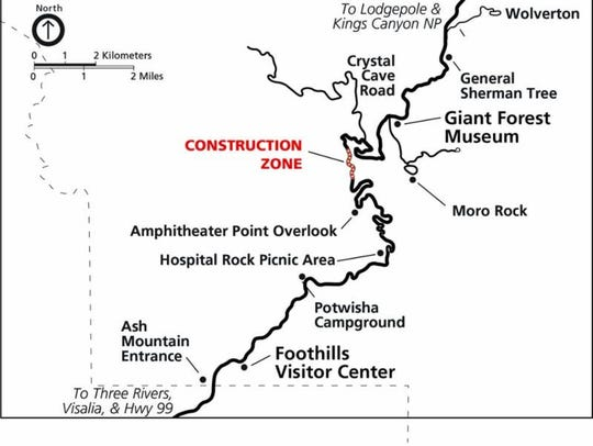 A map shows the scheduled construction in Sequoia National