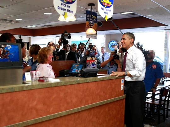 President Obama stopped in the Skyline Chili at Seventh and Vine streets when he was in Cincinnati in July 2014.