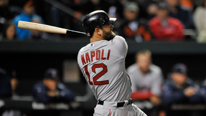 Mike Napoli homered and had four RBI against the Orioles.