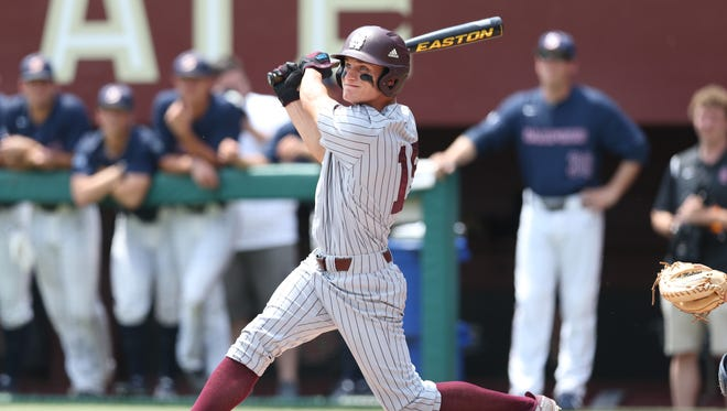 Mississippi State hitter Jake Mangum watches his ball flight on a home run during the Bulldogs' win over Samford Sunday in Tallahassee, Fla.