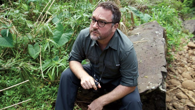 """Director Colin Trevorrow on the set of """"Jurassic World."""" Trevorrow first made his mark with the indie """"Safety Not Guaranteed,"""" starring Aubrey Plaza, the """"Parks & Recreation"""" co-star of """"Jurassic"""" star Chris Pratt."""