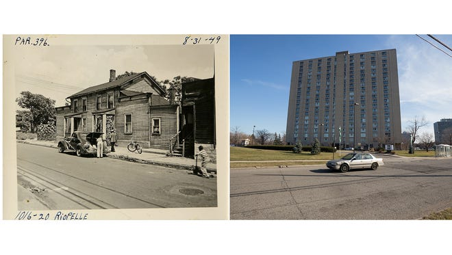 On the left, a young boy rides a scooter down the street while two people stand near a car between 1016 and 1020 Riopelle St. on Aug. 31, 1949, in Black Bottom. On the right is City Place, an apartment complex whose parking lot and outdoor living space cover the area where Riopelle St. used to run.