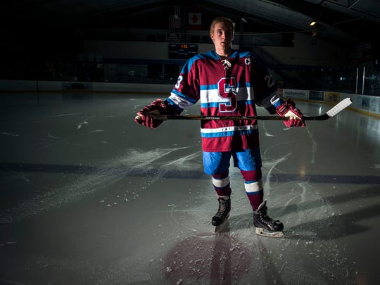 Burlington Free Press 2017 Mr. Hockey, Spaulding senior Denver Heath.