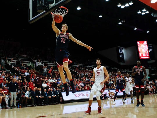 Jan 1, 2017: Arizona Wildcats forward Lauri Markkanen (10) dunks the ball during the second half of the game against Stanford Cardinal at Maples Pavilion.
