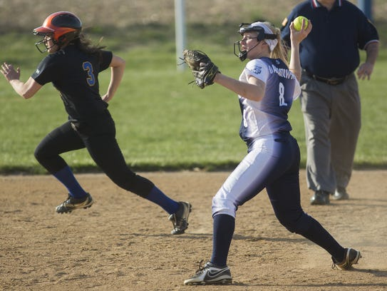 Dallastown's Maggie Noll throws home for the out. Dallastown