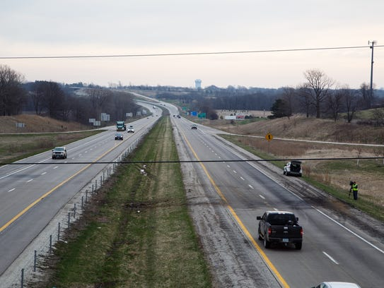 A charred mark on Interstate 80 is all that remains