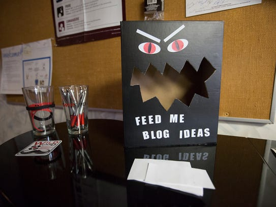 A suggestion box for blog ideas sits out on display