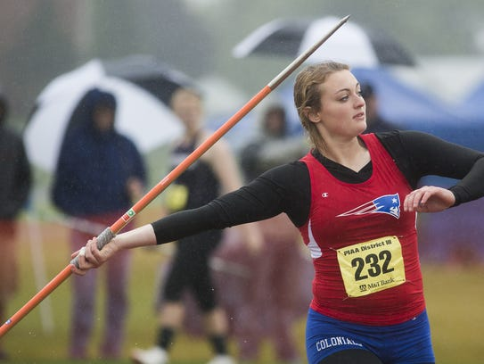 New Oxford's Madi Smith competes in the javelin Saturday