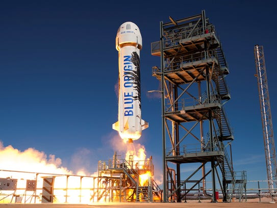 Blue Origin's New Shepard launching from the company's
