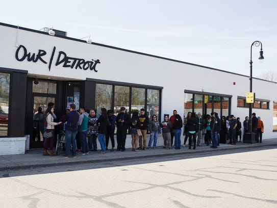 The line outside Our/Detroit bar in Southwest Detroit