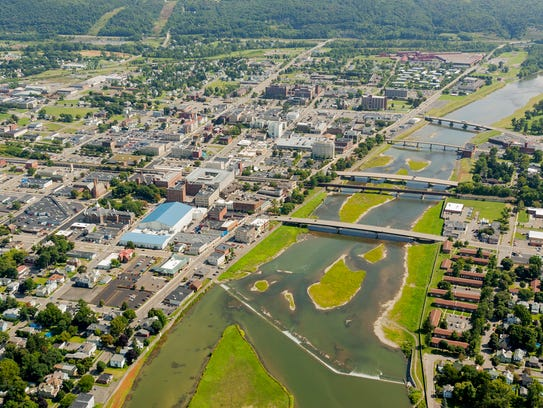 An aerial view of downtown Elmira and the Chemung River