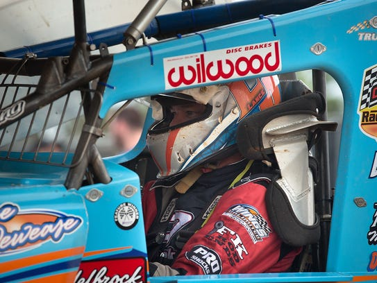 Lance Dewease gets ready to hit the track for a World